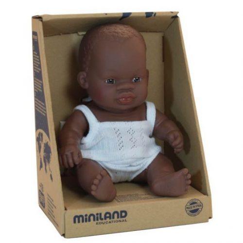 Miniland 21cm Female African Baby Doll